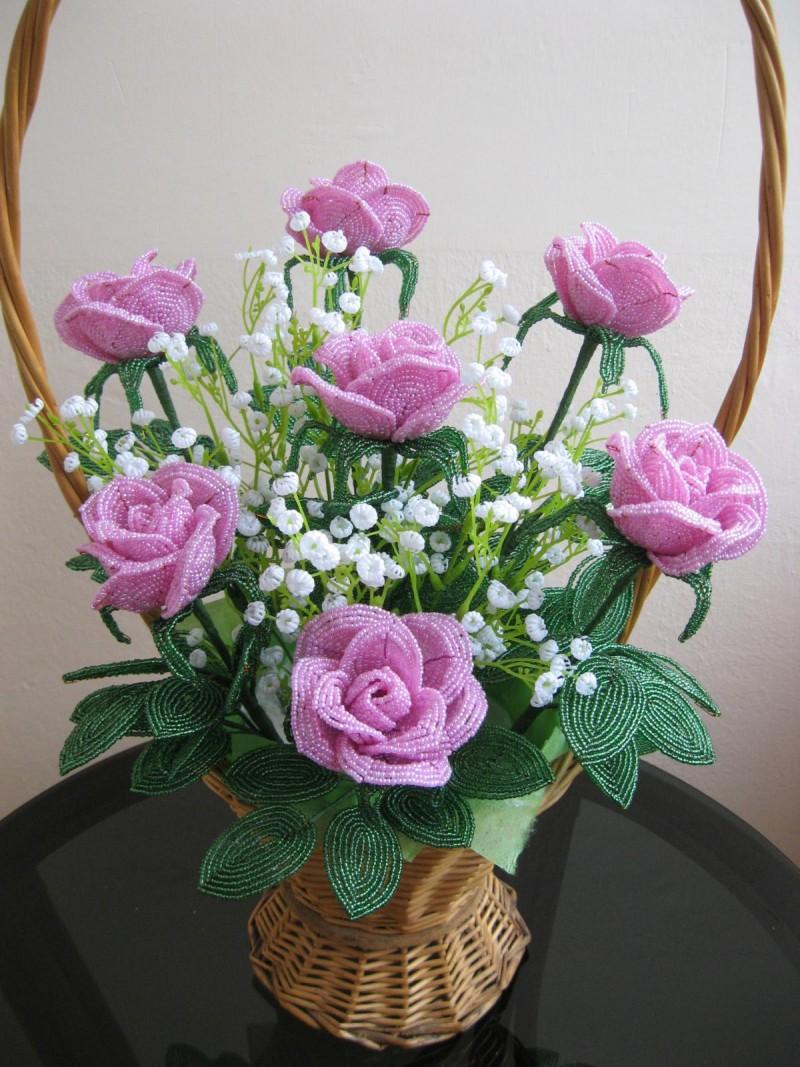 Как сделать розы из бисера своими руками фото 746