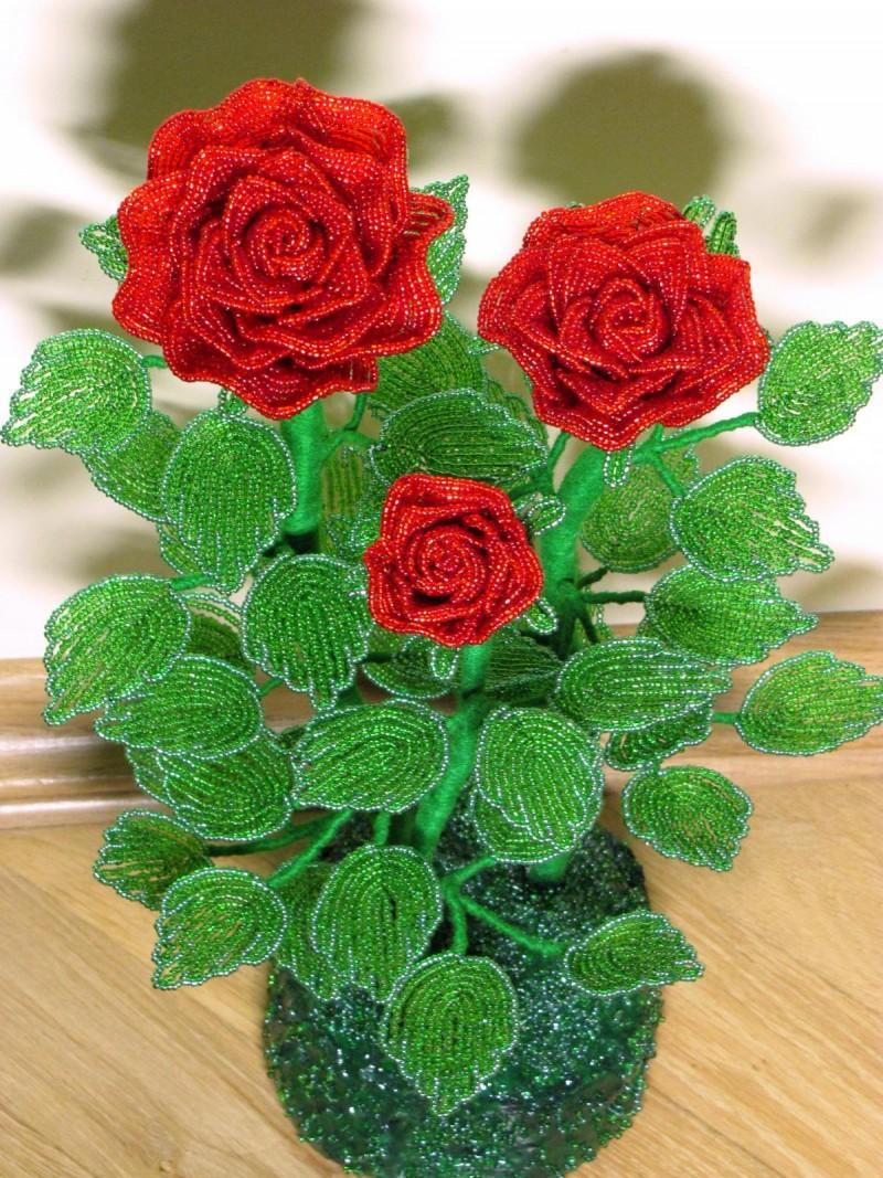 Как сделать розы из бисера своими руками фото 913
