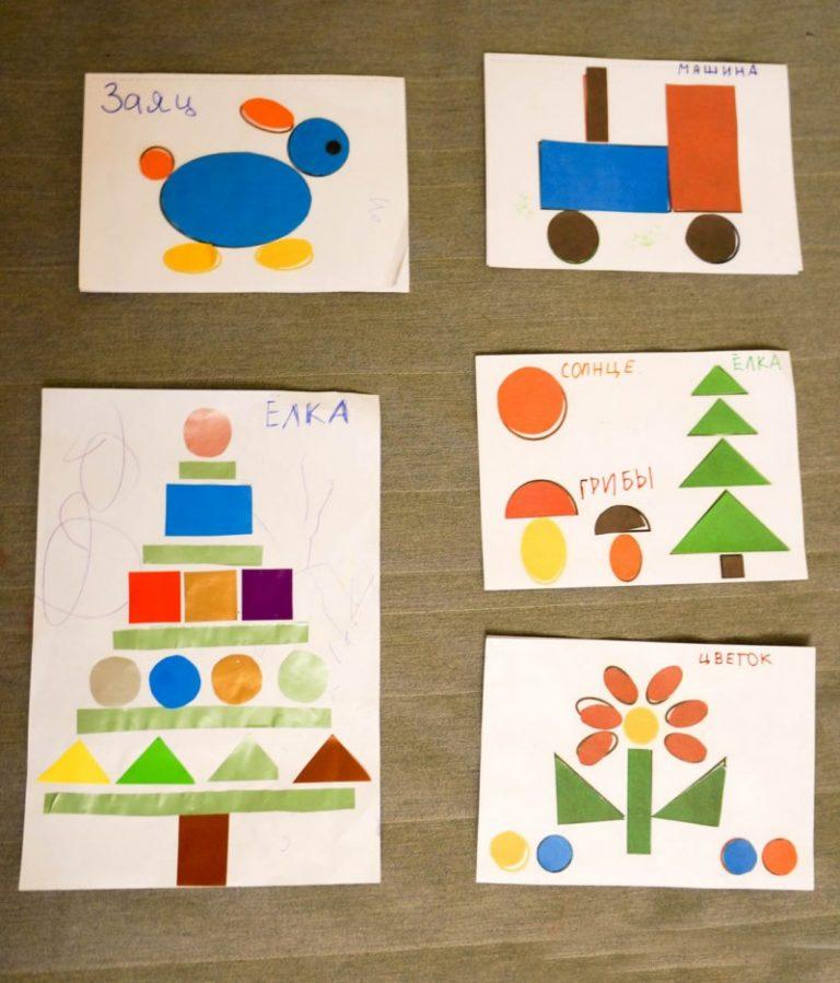многие аппликация из геометрические фигуры в картинках связано