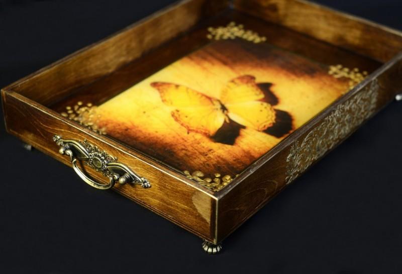 Декор деревянного подноса