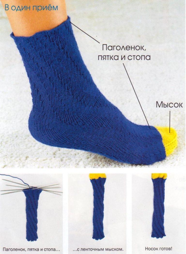 люблю спицами носки от мыска схемы фото была