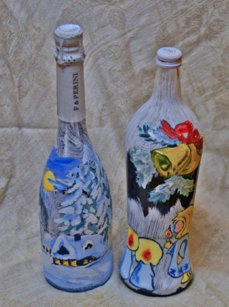 Рисунок на бутылке своими руками